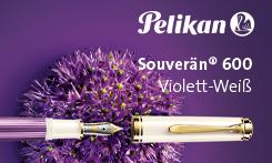 Gewinnen Sie einen Kolbenfüllhalter der neuen Special Edition Souverän® 600 Violett-Weiß von Pelikan!