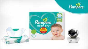 Gewinne ein Babyphone plus einen Monatsvorrat Pampers Baby-Dry Windeln